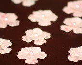 Handmade recycled paper flower embellishments Pinks with pearls
