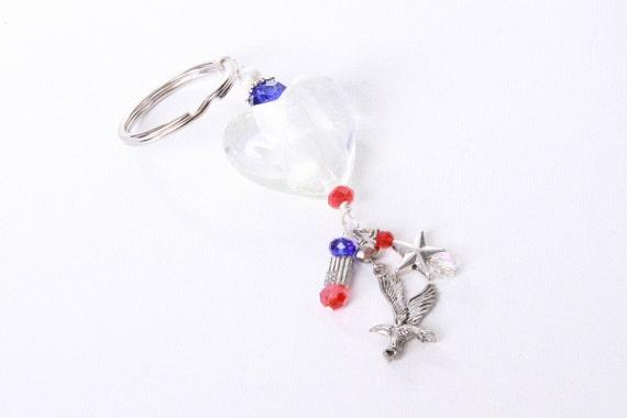 Patriotic Democratic or Republican: large white heart key chain