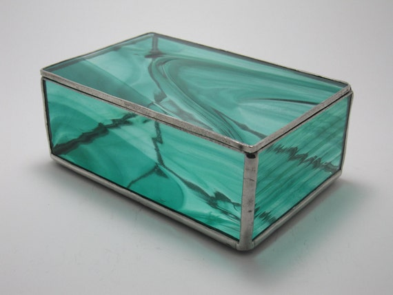 Teal Baroque Stained Glass Box, 4x6 (Made to Order)