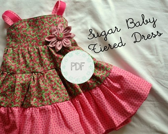 Sugar Baby Tiered Dress - Baby Toddler Girls PDF Dress Pattern Sizes 6-12 months, 18 months, 2, 3, 4, 5, 6