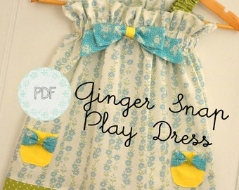 Ginger Snap Play Dress - Baby Toddler Girls Easy Beginner PDF Dress Pattern Sizes 0-3 months, 3-6 months, 6-12, 18 months, 2, 3, 4, 5