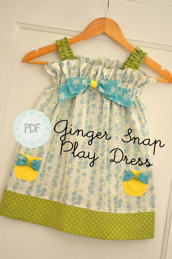 Ginger Snap Play Dress - Baby Toddler Girls Easy Beginner PDF Dress Pattern Sizes Newborn, 0-3, 3-6, 6-12, 18 months, 2, 3, 4, 5