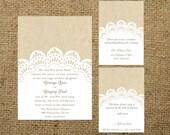 PRINTABLE Kraft and Lace Doily Wedding Invitation Set