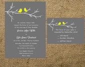 PRINTABLE Love Birds Branch Wedding Invitation Set Suite Invitation RSVP card Gray Grey Yellow all colors wording fonts can be changed