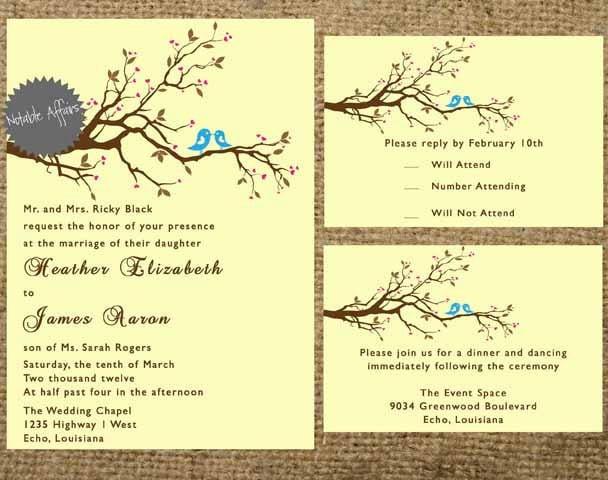 Love Birds Wedding Invitations: PRINTABLE Love Birds Branch Wedding Invitation By