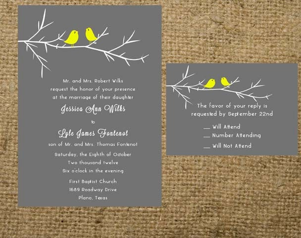 Bird Wedding Invitation: Love Birds Simple Branch Wedding Invitation Set Suite