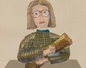 log lady sometimes owls are big art print 8x11