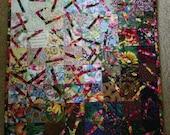 Broken Watercolor Art Quilt (2) ; Impressionism ; Multicolored Quilt ; Floral Quilt ; Textile Art ; Textile Wall Hanging