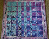 Hand Dyed Convergence Art Quilt ; Textile Wall Hanging ; Hand Dyed Quilt ; Turquoise Quilt ; Purple Quilt