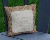 Hand Embroidered Pillow - Luke 12 : 34 ; Bible Verse Pillow ; Motivational Pillow ; Inspirational Pillow