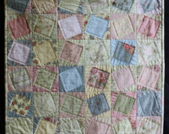 Cottage Chic Art Quilt ; Shabby Quilt ; Square In A Square ; Doll Quilt ; Peach Quilt ; Table Topper ; Textile Art ; Children's Quilt