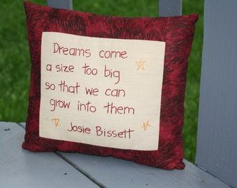 Hand Embroidered Pillow - Dreams ; Growing Verse Pillow ; Motivational Pillow ; Red Pillow ; Decorative Pillow