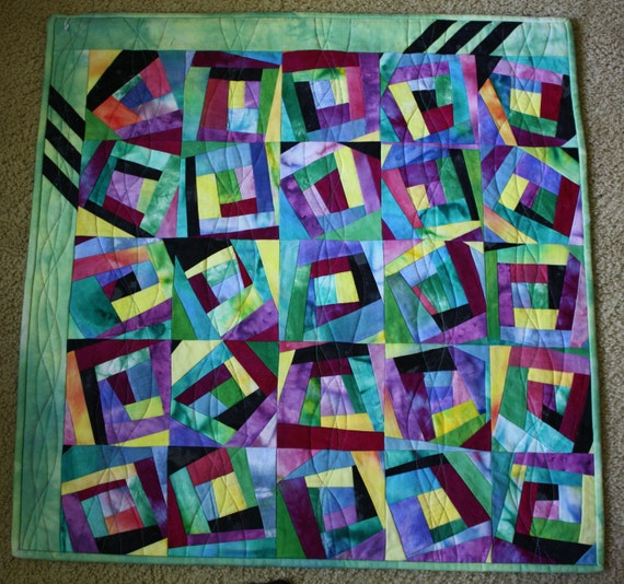 Hand Dyed  Art Quilt ; Textile Wall Hanging ; Color Study ; Log Cabin Quilt ; Improvisational