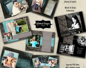 Senior Graduation Card Announcements Photoshop Templates - Instant Download Four 5x7 Card Templates - Black & Gray Collection