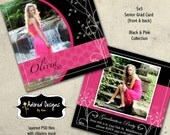 Instant Download Photoshop Card Templates - One 5x5 Girl Senior Card front and back (black & pink collection card 2)