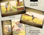 Save the Date (engagement announcements) photoshop template  -  Instant Download- Wedding Vintage Collection 4