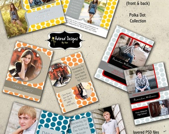 Card Photoshop Templates Senior Announcements Instant Download  (Four Graduation  5x7 Card Templates)  Polka Dot Collection