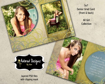Instant Download - girl graduation card photoshop template - one 5x7 front & back announcement (all girl collection card 2)