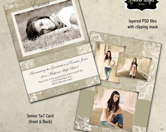 Senior Photo Card Templates for Photoshop  -  Instant Download - One 5x7 Graduation front and back (beige & green collection card 3)