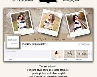 Instant Download - Facebook Timeline Cover Photo Template for Photoshop - Beige Grunge