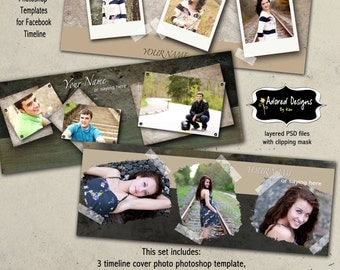 Instant Download - Facebook Timeline Cover Photo Template for Photoshop - Grunge Collection