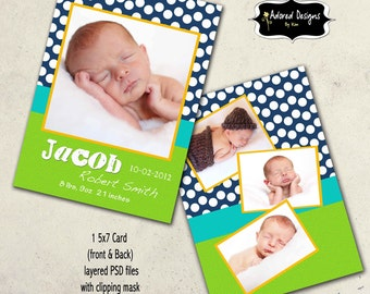 Boy Birth Instant Download Announcement Photoshop Template  - One 5x7 Baby Announcement Card front and back ( vibrant collection card 1)