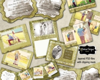 Engagement / Wedding Photoshop Templates (Facebook Timeline, Save the Date, Thank You, Wedding Invitations) Wedding Vintage Collection 3