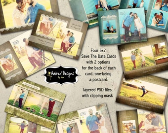 Save the Date Instant Download Photoshop Templates (engagement announcements)  -  Wedding Vintage Collection