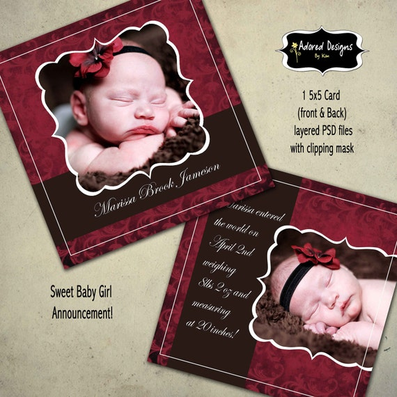 Instant Download Girl Birth Announcement Baby Card Photoshop Template  - One 5x5 Card front and back (elegant collection card 1)