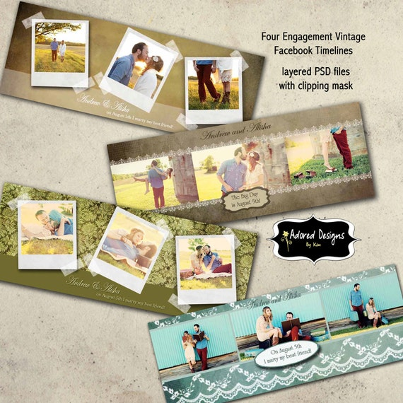 Save the Date Facebook Timeline Cover Photo Photoshop Template Instant Download - Wedding Vintage Collection