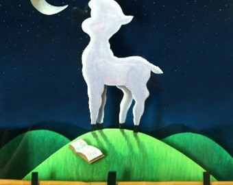 Lamb on a hill. Tridimensional Picture