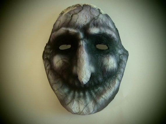 Witch mask. Mask made with the paper mache technic