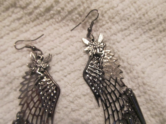 Fairy wings ear rings with fairy charms