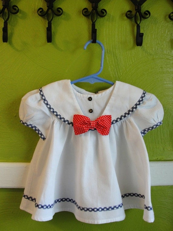 VTG. Nautical Polka Dot Bow baby girl Dress..Size 6/9M.