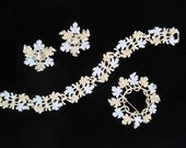 vintage 50s sarah coventry set bracelet earrings pin gold silver leaves