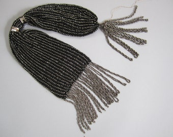 Antique 1860s miser purse black silver marcasite victorian