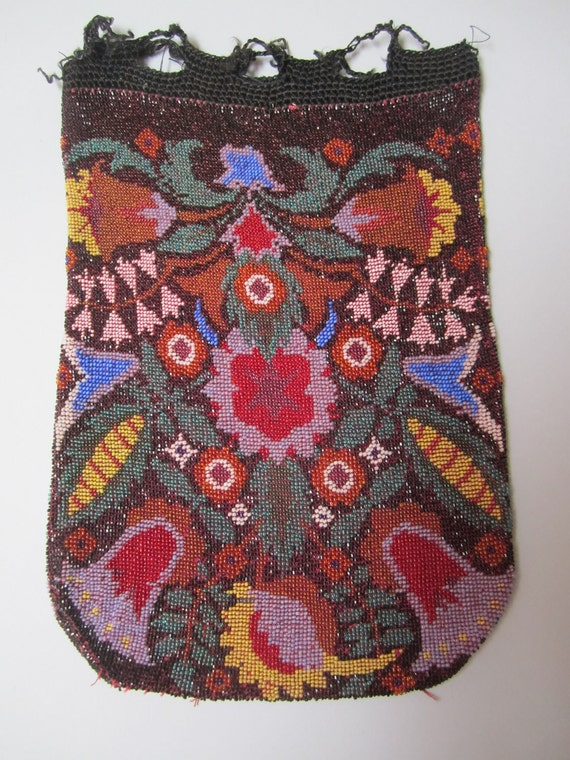 Antique 1800s beaded bag  purse multi colored flowers