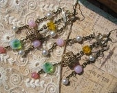 ARISTOCRATIC GIRL Shabby Vintage Filigree and Glass Beads Chandelier Assemblage Earrings
