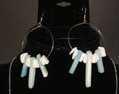 Blue Natural Stone and white shell earrings with sterling silver ear wires