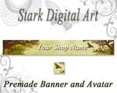 Tree Bird Etsy Shop Banner and Avatar Set  Nature Clip Art Digital Clip Art Printable Clip Art Shop Banner
