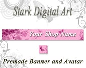 Etsy Shop Banner and Avatar Set, Butterfly Garden Clip Art, Digital Clip Art, Printable Clip Art, Shop Banner, Personal and Commercial Use