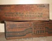 Vintage Wood Cheese Box, Set of 2