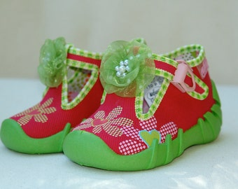 baby girl spring shoes green pink fuchsia cotton size us 9 breathing sole kids children toddler girls shoes