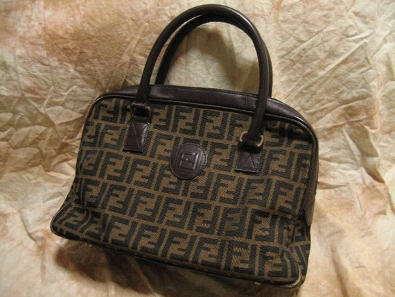 RESERVED Not for sale : FENDI / Vintage Hand bag / Brown Zucca-Pattern  / 100% authentic
