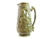 SALE 50 OFF Vintage Green Pitcher Bird and Floral Pattern Portuguese Ceramic  Home Decor Vase Flower 1950s Mid Century