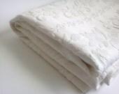 Vintage Bedspread Cotton White Flower Pattern