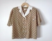Vintage 1980s Shirt Polkadot Sand and White Cyber Monday