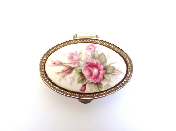 Vintage Metal Pill Box Oval with Floral Pattern Porcelain Spring