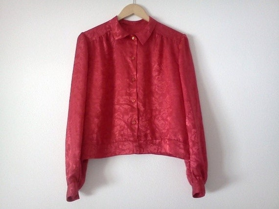 Vintage Red Blouse Long Sleeve with Floral Pattern Large Christmas Womens Clothes