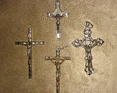 Religious Catholic Silver Tone 1970s Cross Pendant Lot